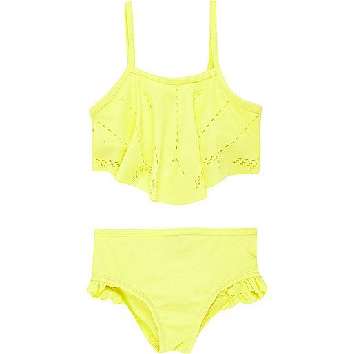 Bikini jaune à motifs découpés au laser pour mini fille