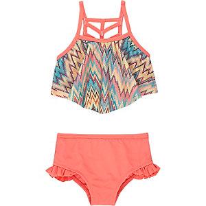 Mini girls coral zig zag print bikini
