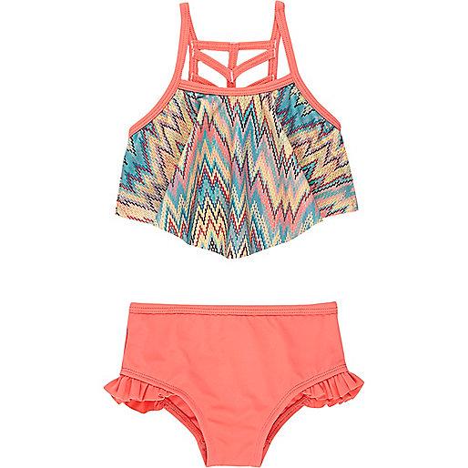 Bikini imprimé zigzags corail mini fille