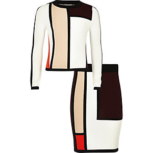 Girls red colour block skirt and top outfit