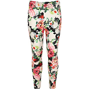 Girls white floral print leggings