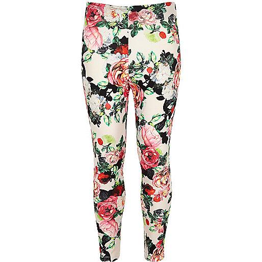 Girls white floral print leggings