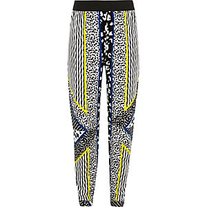 Girls black animal print joggers