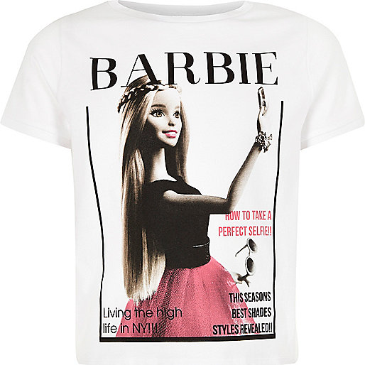 Girls cream Barbie selfie t-shirt