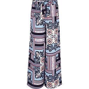 Girls blue print palazzo pants