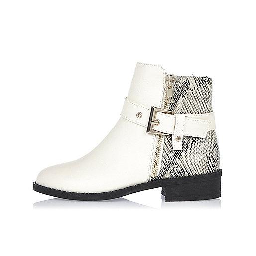 Girls cream glam biker boots