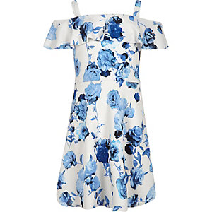 Girls blue floral print dress