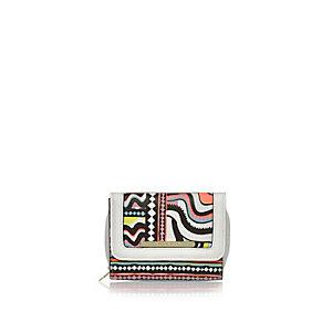 Girls white print trifold purse