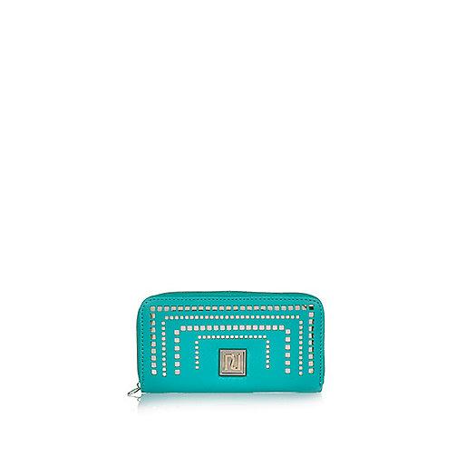 Blaue Geldbörse mit Laserschnittmuster