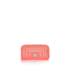 Girls fluorescent coral laser cut purse
