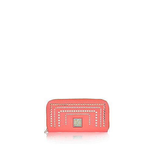 Girls fluorescent coral laser cut purse