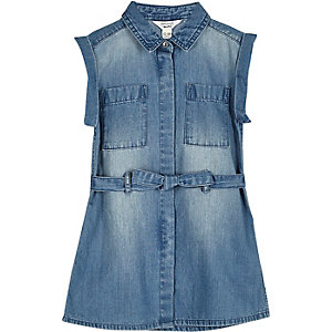 Mini girls blue wash belted denim dress