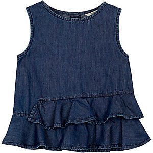 Mini girls dark denim wash peplum top