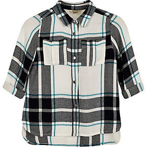 Mini girls green check shirt