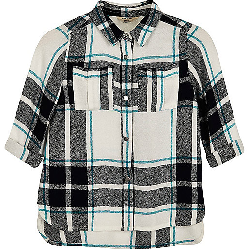 Mini girls green checked shirt