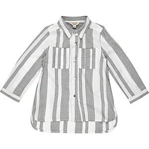Mini girls grey stripe shirt