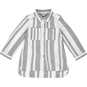 Mini girls grey stripe shirt