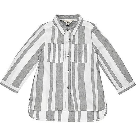 Chemise rayée grise mini fille