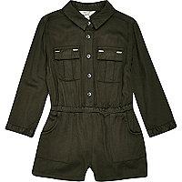 Mini girls khaki military jumpsuit