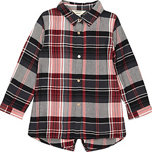 Baby girls red check longline shirt