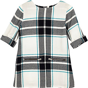 Mini girls green checked shift dress