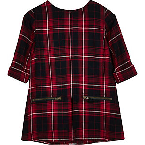 Mini girls red checked shift dress