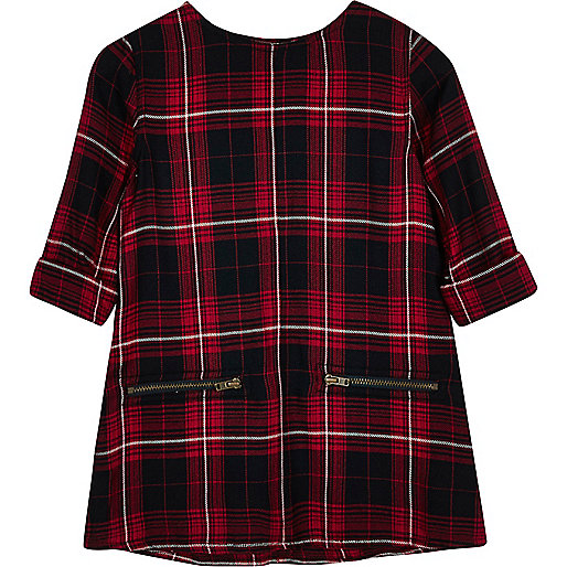 Mini girls red checked shift dress