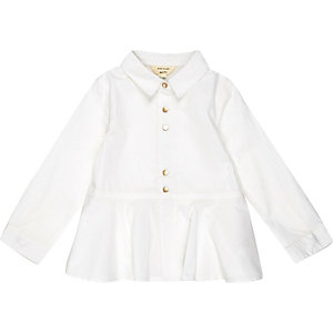 Mini girls white peplum shirt