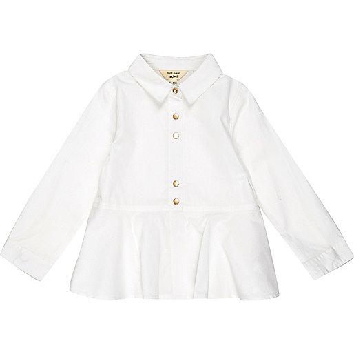 Chemise blanche à basque pour petite fille
