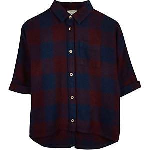 Mini girls red and navy check batwing shirt