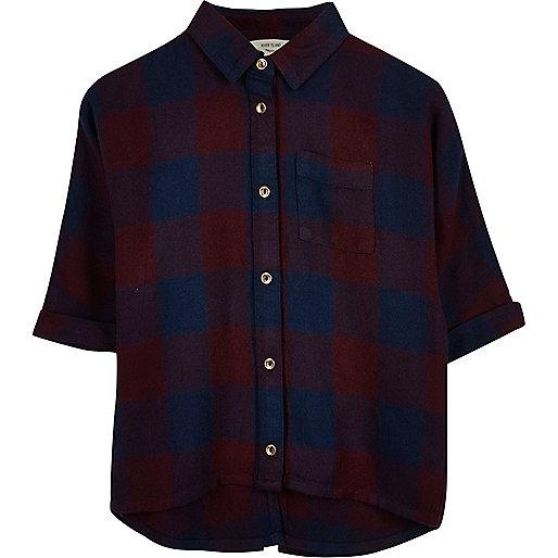 Chemise à carreaux rouge et bleu marine à manches chauve-souris mini-fille