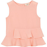 Mini girls pink peplum top