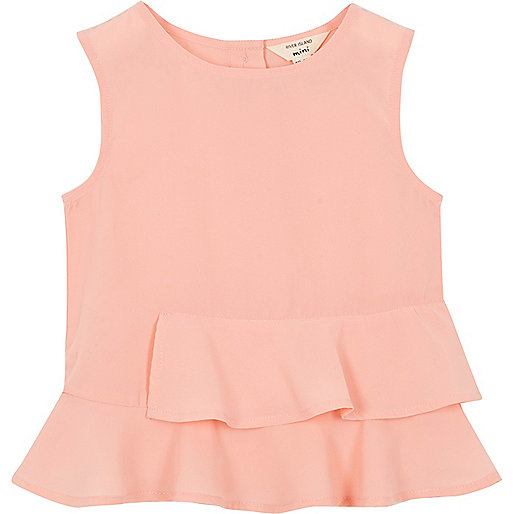 Top péplum rose mini fille