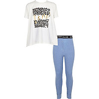 Girls blue print leggings pyjama set