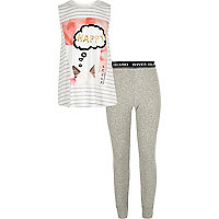 Girls grey print pyjamas