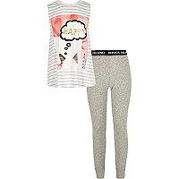 Grauer, bedruckter Pyjama für Mädchen