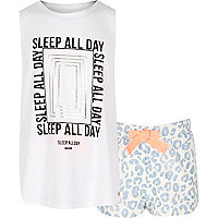 Girls blue print pyjama set