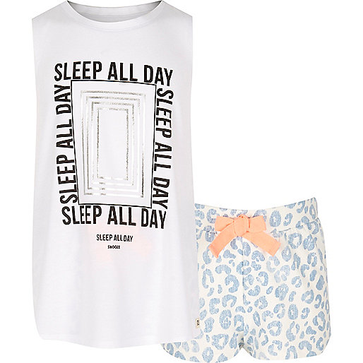 Girls blue print pajama set