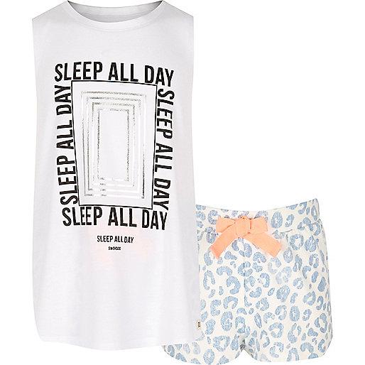 Pyjama imprimé bleu pour fille