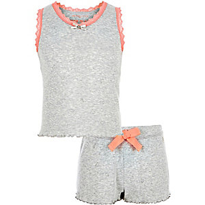 Girls grey pointelle pajama set