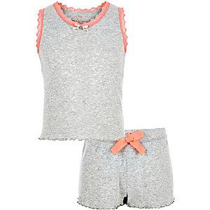 Pyjama en pointelle gris pour fille