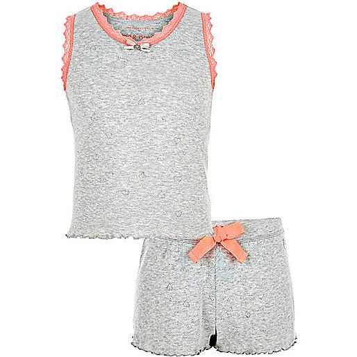 Girls grey pointelle pajama set