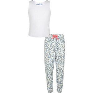 Girls blue animal print pajama set