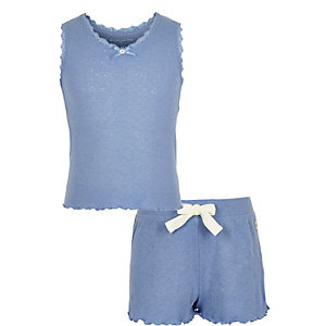 Girls blue pointelle pajama set