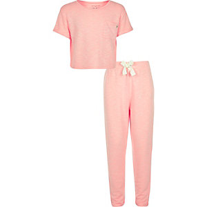 Girls coral pajama set