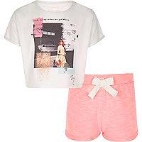 Pyjama court corail pour fille