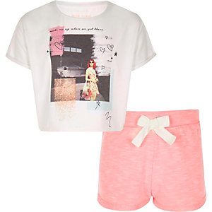 Girls coral cropped pyjamas