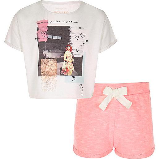 Kurzer, korallenroter Pyjama für Mädchen