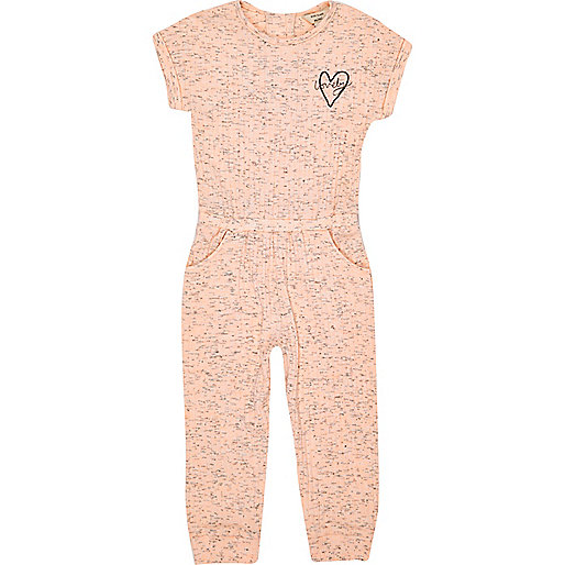 Mini girls coral ribbed jumpsuit