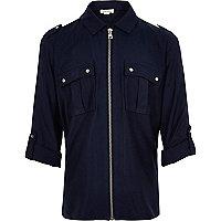 Girls navy zip front shirt